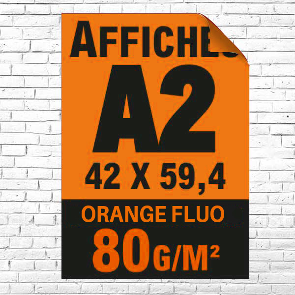 Lot affiche fluo orange A2 recto impression noire à partir de 5 unités