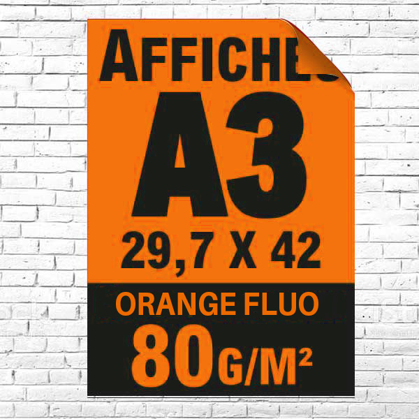 Lot affiche fluo orange A3 recto impression noire à partir de 5 unités
