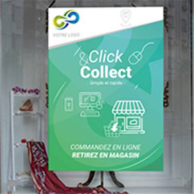 Affiche vitrine pas cher click and collect