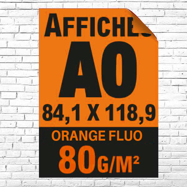 Lot affiche fluo orange A0 recto impression noire à partir de 1 unité